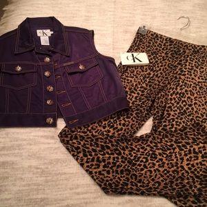 Vintage Calvin Klein Leopard Vest & pant set Small